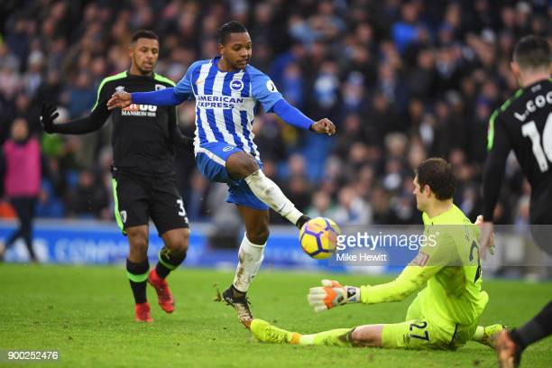 Jose Izquierdo of Brighton and Hove Albion has a shot saved by Asmir Begovic of AFC Bournemouth during the Premier League match between Brighton and...