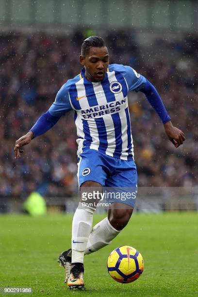 Jose Izquierdo of Brighton and Hove Albion in action during the Premier League match between Brighton and Hove Albion and AFC Bournemouth at Amex...