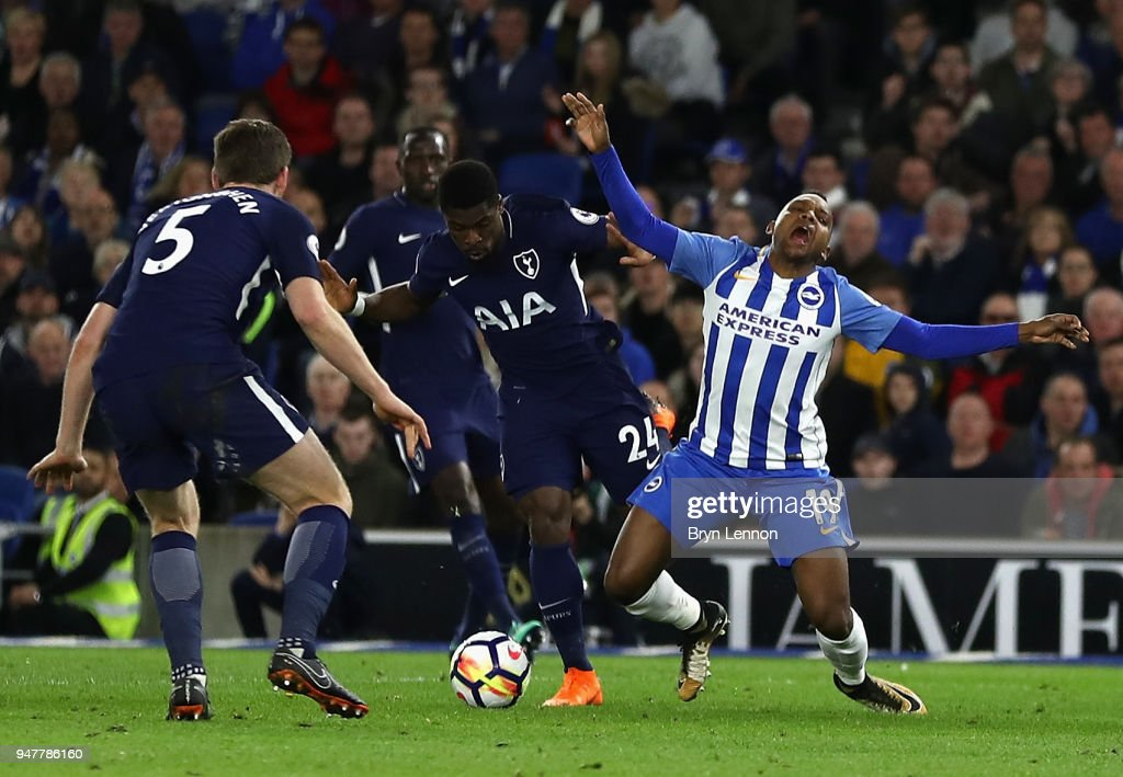 Jose Izquierdo of Brighton and Hove Albion is fouled by Serge Aurier of Tottenham Hotspur which leads to Brighton and Hove Albion being awarded a penalty during the Premier League match between Brighton and Hove Albion and Tottenham Hotspur at Amex Stadium on April 17, 2018 in Brighton, England.