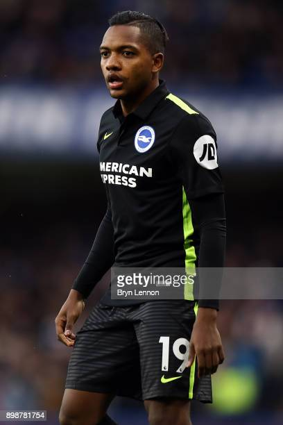 Jose Izquierdo of Brighton and Hove Albion looks on during the Premier League match between Chelsea and Brighton and Hove Albion at Stamford Bridge...