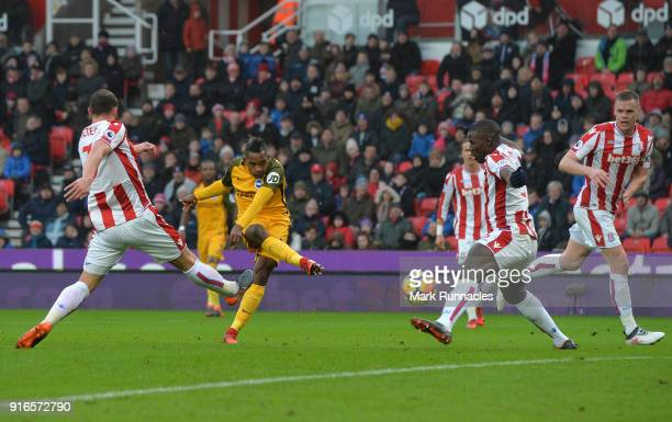 Jose Izquierdo of Brighton and Hove Albion scores his side's first goal during the Premier League match between Stoke City and Brighton and Hove...