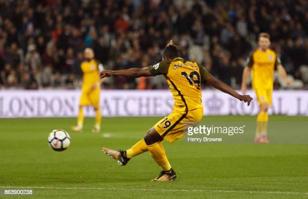 Jose Izquierdo of Brighton and Hove Albion scores their second goal during the Premier League match between West Ham United and Brighton and Hove...