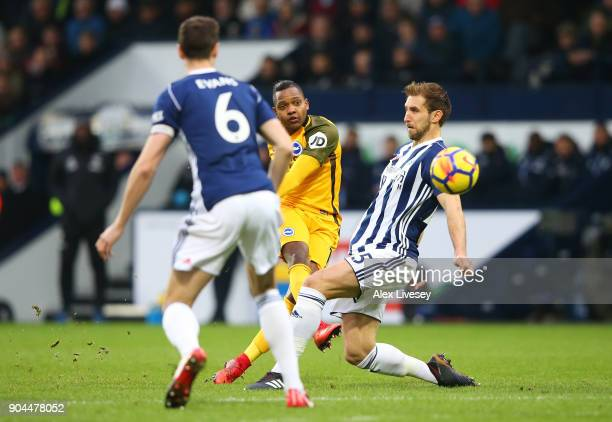 Jose Izquierdo of Brighton and Hove Albion shoots during the Premier League match between West Bromwich Albion and Brighton and Hove Albion at The...