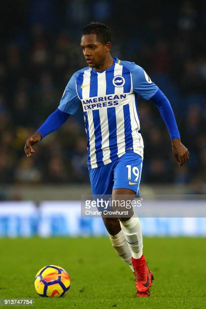Jose Izquierdo of Brighton during the Premier League match between Brighton and Hove Albion and West Ham United at Amex Stadium on February 3 2018 in...