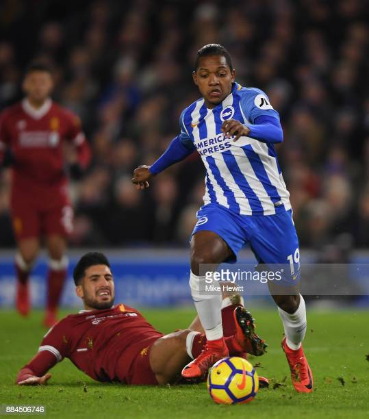 Jose Izquierdo of Brighton gets past Emre Can of Liverpool during the Premier League match between Brighton and Hove Albion and Liverpool at Amex...