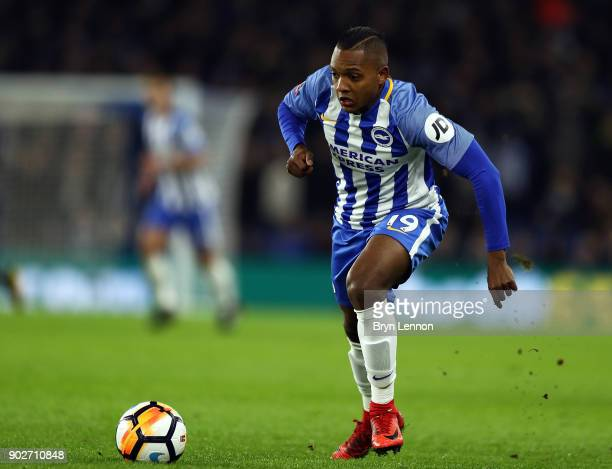 Jose Izquierdo of Brighton Hove Albion in action during The Emirates FA Cup Third Round match between Brighton Hove Albion and Crystal Palace at Amex...