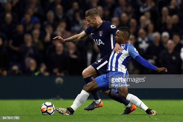 Jose Izquierdo of Brighton Hove Albion tackles Toby Alderweireld of Tottenham Hoptspur during the Premier League match between Brighton and Hove...