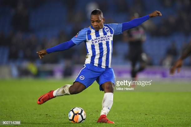 Jose Izquierdo of Brighton in action during The Emirates FA Cup Third Round match between Brighton Hove Albion and Crystal Palace at Amex Stadium on...