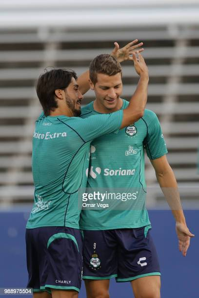 Jose Javier Abella and Julio Furch of Club Santos warm up during a training session at Cotton Bowl on June 29 2018 in Dallas Texas