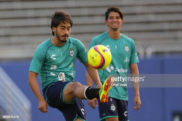 Jose Javier Abella of Club Santos kicks the ball during a training session at Cotton Bowl on June 29 2018 in Dallas Texas