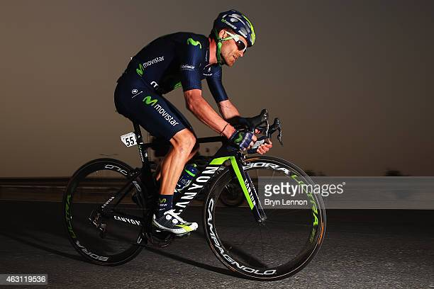 Jose Joaqiun Rojas of Spain and the Movistar Team in action on stage three of the 2015 Tour of Qatar, a 10.9km individual time trial at the Lusail...