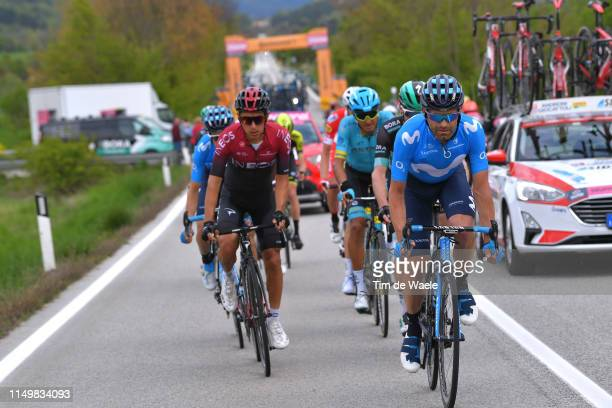 L'AQUILA ITALY MAY 17 Jose Joaquin Rojas Gil of Spain and Movistar Team / Sebastian Henao of Colombia and Team INEOS / during the 102nd Giro d'Italia...