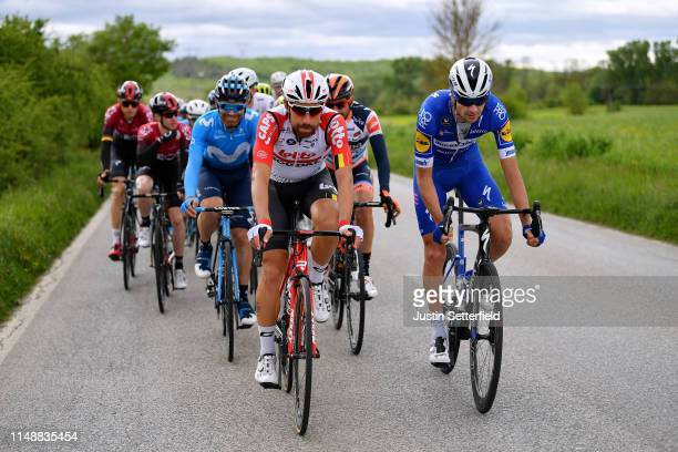 Jose Joaquin Rojas Gil of Spain and Movistar Team / Thomas De Gendt of Belgium and Team Lotto Soudal / Pieter Serry of Belgium and Team Deceuninck...