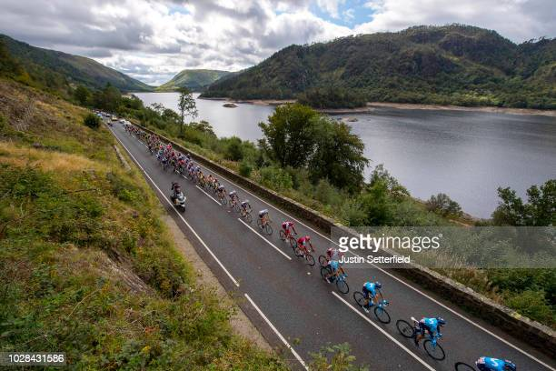Jose Joaquin Rojas Gil of Spain / Ruben Fernandez of Spain / Jasha Sutterlin of Germany and Movistar Team / Thirlmere Lake / Peloton / Landscape /...