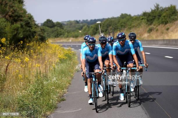 Jose Joaquin Rojas of Spain and Movistar Team / Andrey Amador of Costa Rica and Movistar Team / during the 105th Tour de France 2018, Training / TDF...