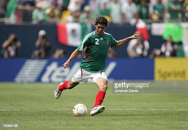 Jose Jonny Magallon of Mexico moves the ball against the USA during the CONCACAF Gold Cup Final match at Soldier Field on June 24 2007 in Chicago...