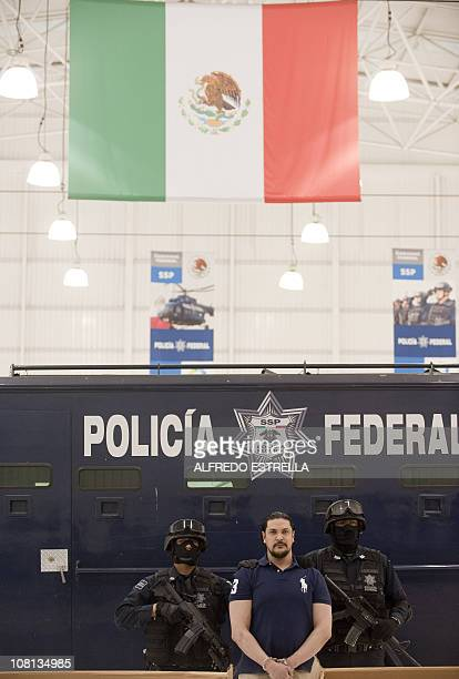 Jose Jorge Balderas aka El JJ is presented at a press conference at the headquarters of the Mexican Federal Police in Mexico City on January 18 2011...