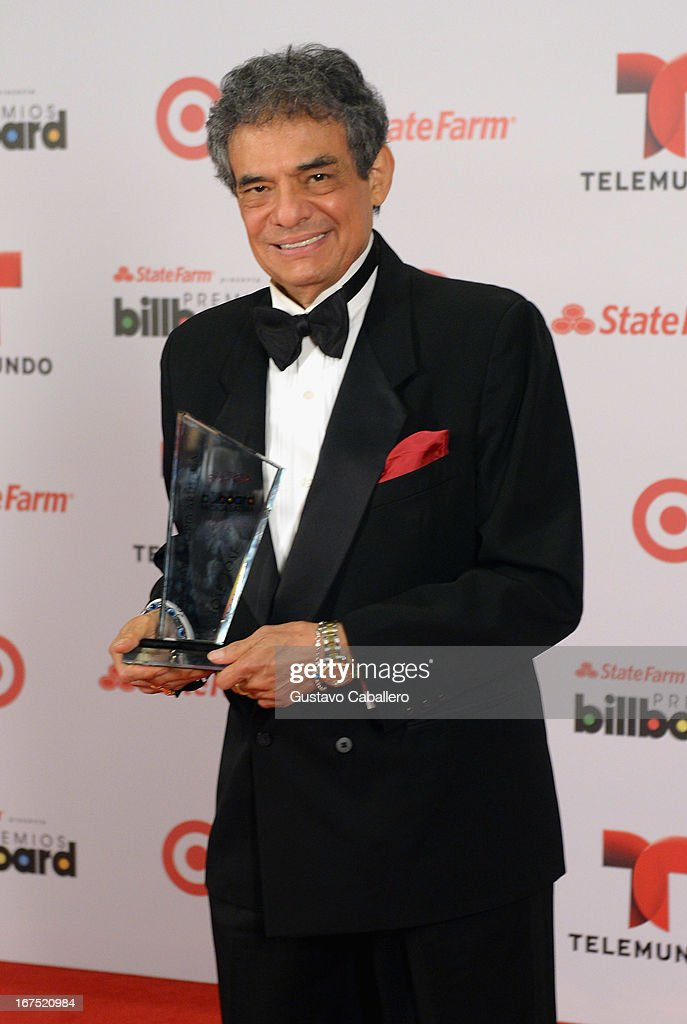 Jose Jose poses backstage at Billboard Latin Music Awards 2013 at Bank United Center on April 25, 2013 in Miami, Florida.