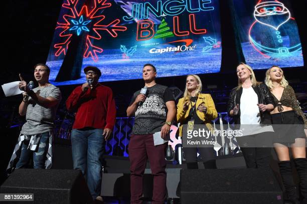 Jose 'JSi' Chavez 'Big Al' Mack Cruz grand prize winner Samantha Priscilla and Raven speak onstage at 1061 KISS FM's Jingle Ball 2017 Presented by...