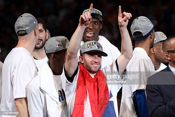Jose Juan Barea of the Dallas Mavericks celebrates after the Mavericks won 105-95 against the Miami Heat in Game Six of the 2011 NBA Finals at...