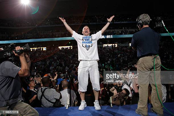 Jose Juan Barea of the Dallas Mavericks is introduced to the crowd during the Mavericks NBA Champion Victory Parade on June 16, 2011 at the American...