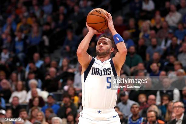 Jose Juan Barea of the Dallas Mavericks puts up a shot against the Denver Nuggets in the first period at the Pepsi Center on December 18, 2018 in...