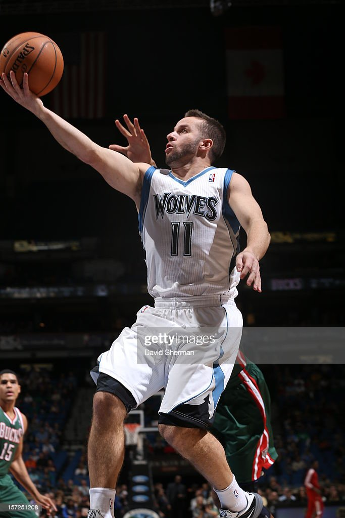 Jose Juan Barea #11 of the Minnesota Timberwolves goes to the basket against the Milwaukee Bucks during the game on November 30, 2012 at Target Center in Minneapolis, Minnesota.