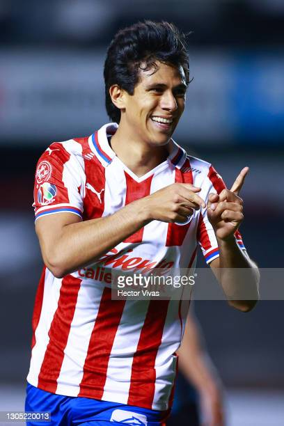 Jose Juan Macias of Chivas celebrates after scoring the first goal of his team during the 9th round match between Queretaro and Chivas as part of the...