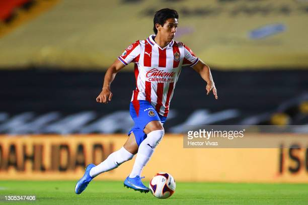 Jose Juan Macias of Chivas drives the ball during the 9th round match between Queretaro and Chivas as part of the Torneo Guard1anes 2021 Liga MX at...