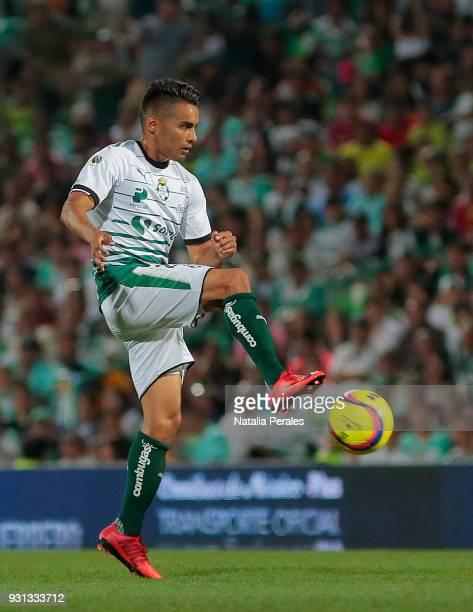 Jose Juan Vazquez of Santos controls the ball during the 11th round match between Santos Laguna and Monterrey as part of the Torneo Clausura 2018...