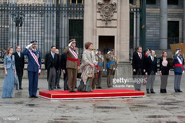 JEMAD Jose Julio Rodriguez Carme Chacon Alfredo Perez Rubalcaba Jose Luis Rodriguez Zapatero Queen Sofia King Juan Carlos Prince Felipe and Princess...