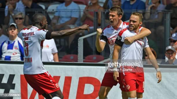 Jose - Junior Matuwila, Lasse Schlueter and Fabio Viteritti of Cottbus celebrate during the 3. Liga match between FC Energie Cottbus and F.C. Hansa...