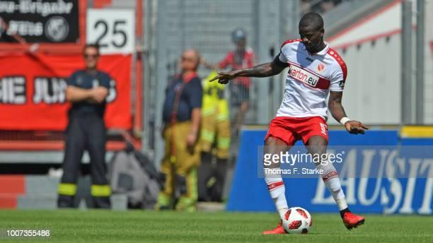 Jose - Junior Matuwila of Cottbus kicks the ball during the 3. Liga match between FC Energie Cottbus and F.C. Hansa Rostock at Stadion der...