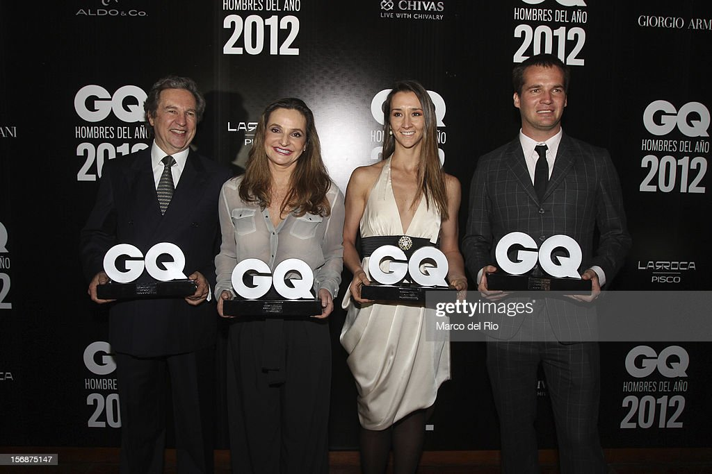 Jose Koechlin, Susana de la Puente, Vania Masias and Nicolas Fuchs pose during the awards ceremony GQ Men of the Year 2012 at La Huaca Pucllana on November 23, 2012 in Lima, Peru.