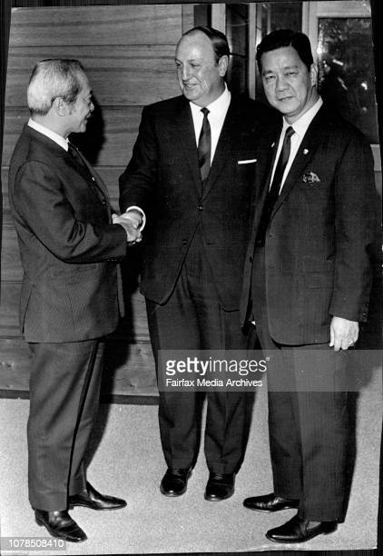 Jose Laurel, Speaker of the Philippines House of Reps. And Senator Gil Puyat President of the Philippines, Senate.Jose Laurel, Sir William Aston and...