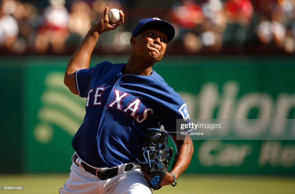 Jose Leclerc #62 of the Texas Rangers delivers against the Colorado Rockies during the eighth inning at Globe Life Park in Arlington on June 16, 2018 in Arlington, Texas. The Rangers won 5-2.