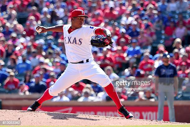 Jose Leclerc of the Texas Rangers pitches against the Tampa Bay Rays in the top of the fourth inning at Globe Life Park in Arlington on October 2...