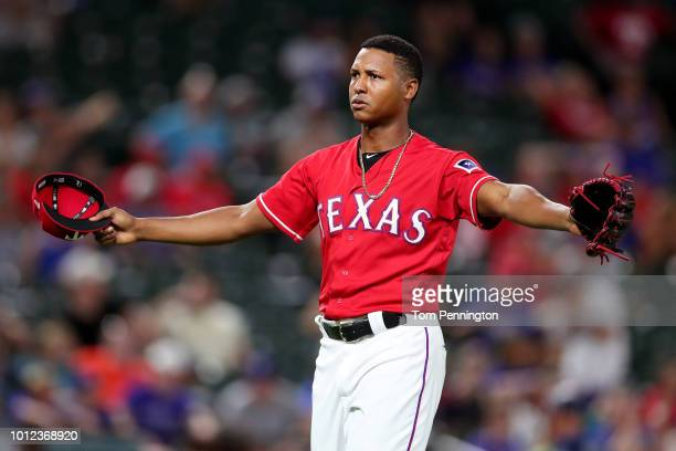 Jose Leclerc of the Texas Rangers reacts after shutting down the Seattle Mariners in the top of the ninth inning at Globe Life Park in Arlington on...