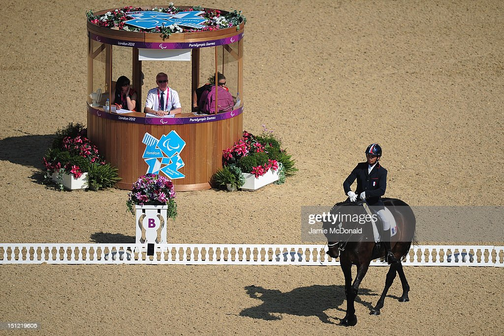 Jose Letartre rides Warina during the Equestrian Dressage Individual Freestyle Test - Grade III on day 6 of the London 2012 Paralympic Games at Greenwich Park on September 4, 2012 in London, England.