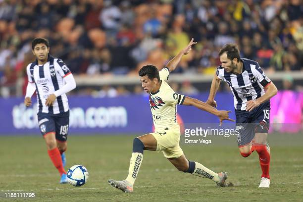 Jose Lopez of Club America and Jose Basanta of Monterrey fight for the ball during the friendly match between America and Monterrey at BBVA Compass...