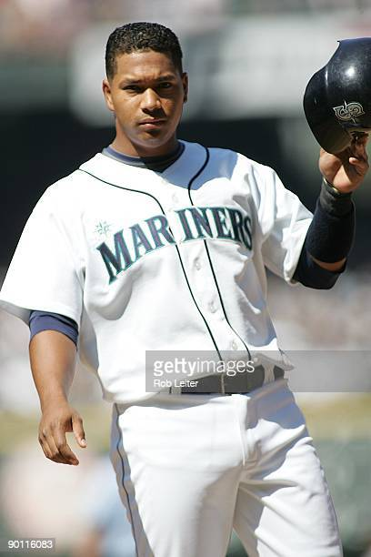 Jose Lopez of the Seattle Mariners stands on first base during the game against the New York Yankees at Safeco Field on August 16 2009 in Seattle...