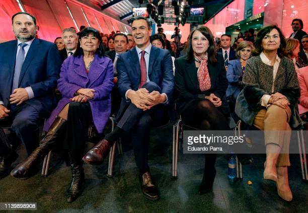 Jose Luis Abalos Adriana Lastra Carmen Calvo SecretaryGeneral of the PSOE Pedro Sanchez and Cristina Narbona present the PSOE electoral campaign at...