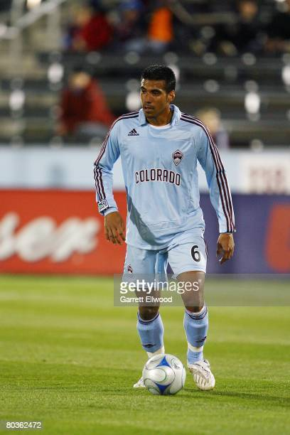 Jose Luis Burciaga Jr #6 of the Colorado Rapids dribbles during the Burgundy Blue scrimmage on March 19 2008 at Dicks Sporting Goods Park in Commerce...