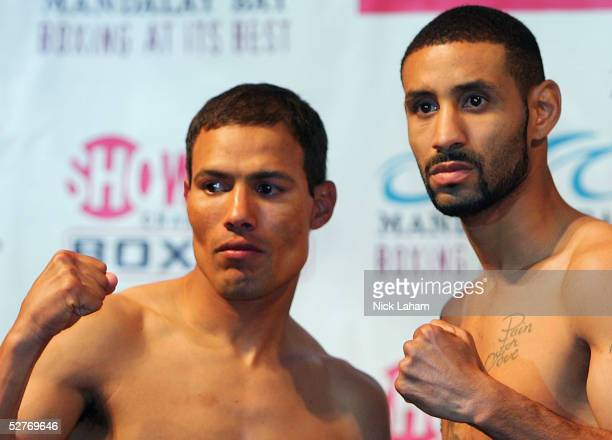 Jose Luis Castillo and Diego Corrales pose for photographers at the weigh in for their World Lightweight Unification on May 6 2005 at The Mandalay...