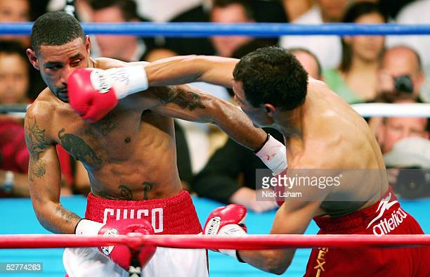 Jose Luis Castillo hits Diego Corrales with a right during their World Lightweight Unification bout on May 7 2005 at The Mandalay Bay in Las Vegas...