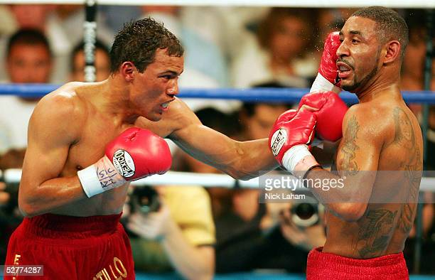 Jose Luis Castillo lands a left on Diego Corrales during their World Lightweight Unification bout on May 7 2005 at The Mandalay Bay in Las Vegas...