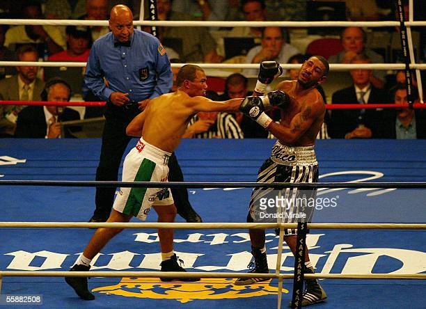 Jose Luis Castillo of Mexico conects on a punch against Diego Chico Corrales during their Bout October 8 2005 at the Thomas Mack Center on the campus...