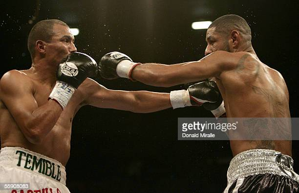 Jose Luis Castillo of Mexico exchanges puches with Diego Chico Corrales during their Bout October 8 2005 at the Thomas Mack Center on the campus of...