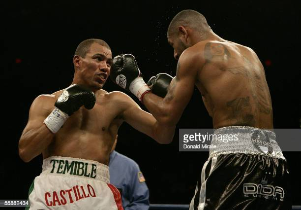 Jose Luis Castillo of Mexico exchanges punches with Diego Chico Corrales during their Bout October 8 2005 at the Thomas Mack Center on the campus of...