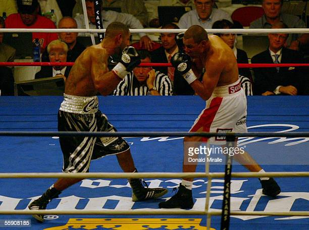Jose Luis Castillo of Mexico squares off with Diego Chico Corrales during their Bout October 8 2005 at the Thomas Mack Center on the campus of UNLV...